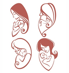 mother and baby collection vector image vector image