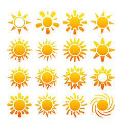 yellow sun icons isolated on white vector image