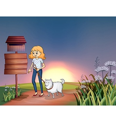 A girl with a dog in a sunset scenery vector image vector image