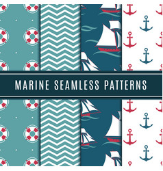 nautical seamless patterns for kids marine vector image vector image