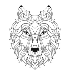 Wolf head zentangle stylized coloring page vector image