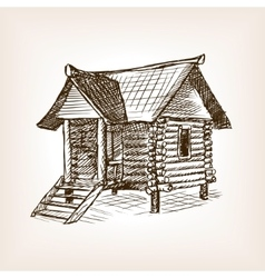 Wooden hut hand drawn sketch vector image vector image