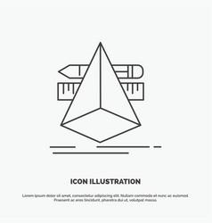 3d design designer sketch tools icon line gray vector image