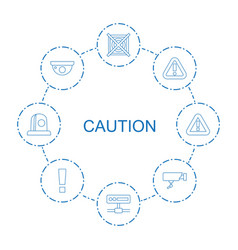 8 caution icons vector