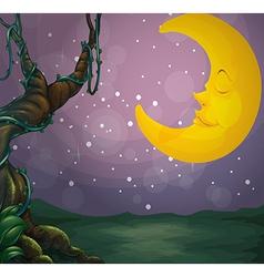 A giant tree and sleeping moon vector