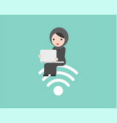 arab woman sitting on wifi symbol and using vector image