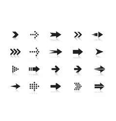 Arrows black and white icons set pointers vector