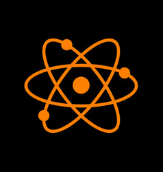 atom sign orange icon on black vector image