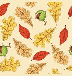 autumn leaves and horse chestnut vector image