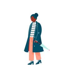 beautiful woman dressed in stylish seasonal vector image