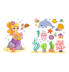big set with a mermaid and sea animals vector image
