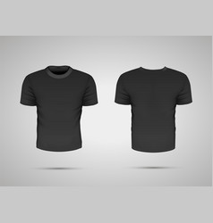 black realistic sport t-shirt with shadow on gray vector image