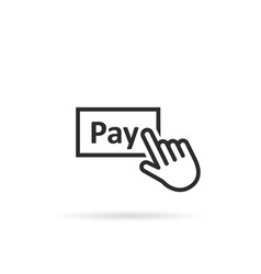 Black thin line finger presses on pay button vector