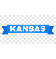 Blue ribbon with kansas title vector