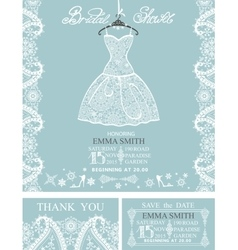 Bridal shower invitation setWinterwedding lace vector