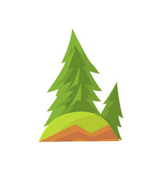 cartoon landscape scene with forest firs and green vector image