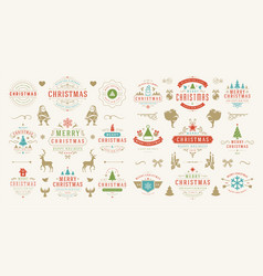 christmas and happy new year wishes labels vector image