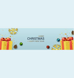 christmas banner with yellow gift boxes glass vector image