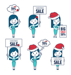 christmas character woman in different poses vector image