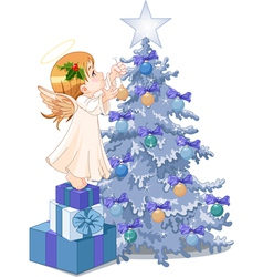 Christmas cute angel vector