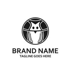 circular black owl logo vector image