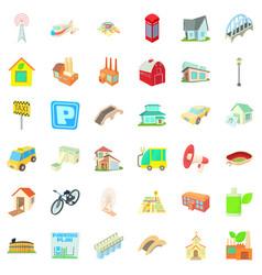 City street icons set cartoon style vector