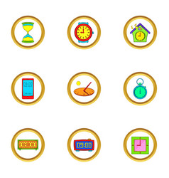 Clock icons set cartoon style vector