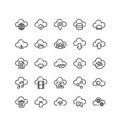 cloud computing outline icon set vector image