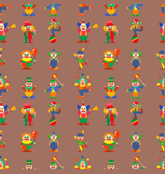 Clown cute characters performer carnival actor vector
