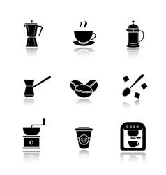 coffee drop shadow black icons set vector image