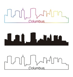 Columbus skyline linear style with rainbow vector image
