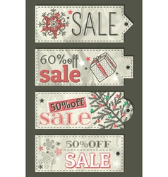 crumple christmas labels with sale offer vector image
