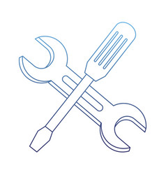 Degraded outline industry screwdriver and wrench vector
