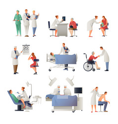 Doctor and patient flat icons set vector