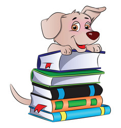 Dog on stack of books vector