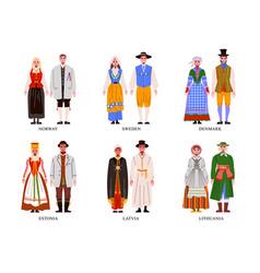 european national costume set vector image