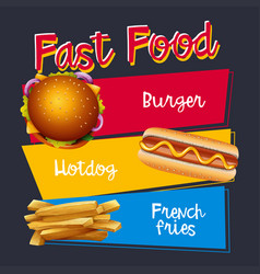 Fastfood menu with burger and hotdog vector