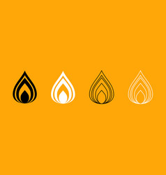 fire black and white set icon vector image