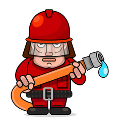 firefighter flat cartoon character design vector image
