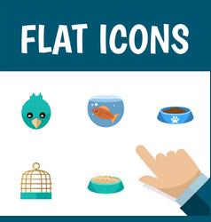 flat icon pets set of feeding sparrow cat eatin vector image