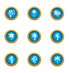 Florescence icons set flat style vector