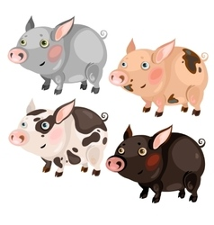 Four spotted cartoon pigs different colors vector