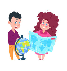 geography lesson cute girl with map and boy vector image