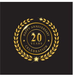 gold wreath anniversary twenty years celebration vector image