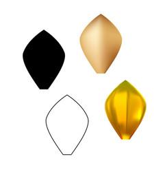 Golden metal pattern flower petal set vector
