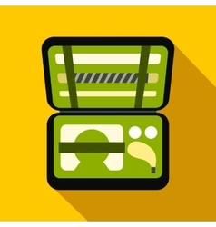Golf set in suitcase flat icon vector