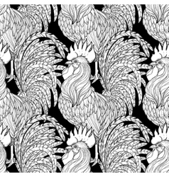 graphic rooster pattern vector image