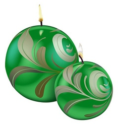 Green Christmas Candles vector image