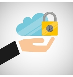 hand hold protected concept padlock cloud vector image