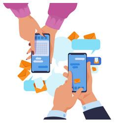 Hands holding smartphone cartoon text messaging vector